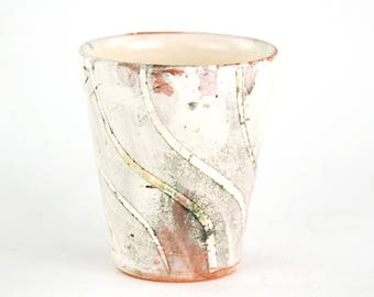 Small Cup with Bent White Stripes