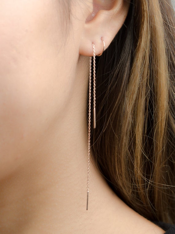 Long Threader Earrings Sterling Silver Gold Plated Chain