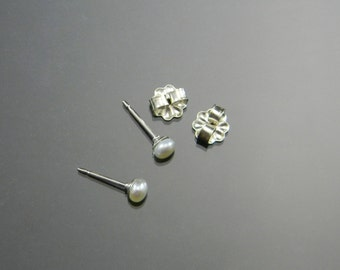 Small Pearl Studs, Cultured Pearl Earrings, Small Pearl Earrings, Sterling Silver, 3-4 mm pearls, June Birthstone