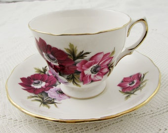 Vintage Tea Cup and Saucer by Royal Vale with Pink and Red Flowers, English Bone China