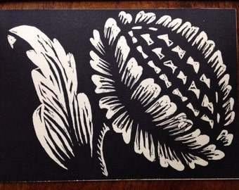 Thistle Linocut Print 5 x 7in.