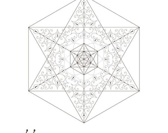 Seed Of Life Golden Spiral Star David Octahedrons Sacred Geometry Energy Healing Coloring Page Printable INSTANT DOWNLOAD By HALELUYA