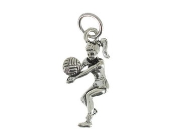 Volleyball girl charm in antique silver or gold plated pewter.  Volleyball charm.  Volleyball necklace.  Volleyball Jewelry.