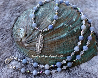 Blue Aventurine Necklace - Silver Feather Necklace - Two Feathers Jewelry - Blue Gemstone Necklace - Gift For Her - Czech Glass Necklace