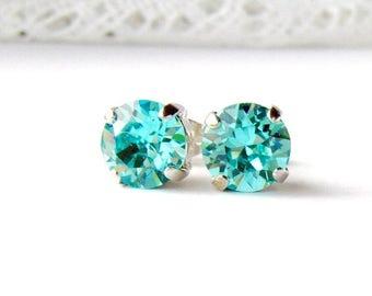 Light turquoise rhinestone stud earrings / 8mm / aqua earrings / blue topaz / March / ice blue / gift for her / Swarovski