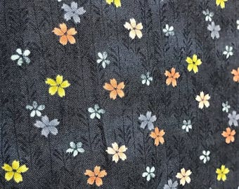 Asami Small Flower The Henley Studio Makower Uk Cotton Fabric 1 Yard Navy Blue Floral Pink Blue and Yellow Tiny Flowers