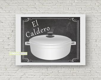 El Caldero print, Puerto Rican rice pot, Nostalgic Puerto Rican Prints , Puerto Rican Art, Nostalgic rice pot print.