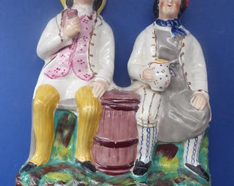 Large Staffordshire Tam O'Shanter and Souter Johnnie Figurine by SAMPSON SMITH; c1890s