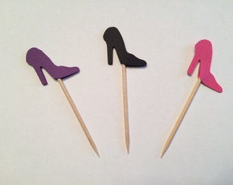 24 purple black and pink high heel toothpicks, wedding shower, birthday decor, bachelorette, appetizer picks, food picks, cupcake toppers