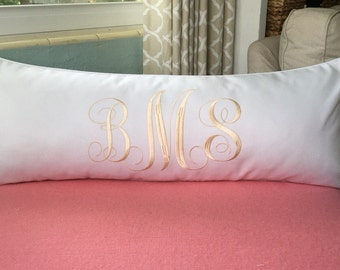 Monogrammed Lumbar Pillow Cover