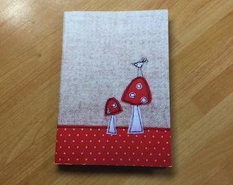 Bird on a toadstoolA6 notebook, mini notebook, pocket notebook, plain pages, sketchbook