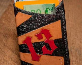 Lucky 13 handmade leather card sleeve, hand-tooled card case, card holder, leather card case.