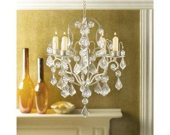 Ivory Baroque - Elegant Crystals Candle Chandelier - Iron - Acrylic