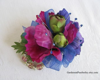 Prom / Homecoming / Wedding Silk Wrist Corsage on Fitz Design Bracelet