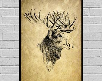 Antique Moose print, Old Paper, Vintage Dictionary page, Moose poster, Vintage Moose Art, Black Moose print V28