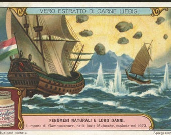 Liebig Victorian trade card Battle ships boats