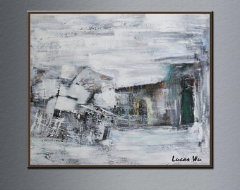 Snow outside oil painting on canvas, Handmade oil painting on canvas, Oil painting on canvas Lu-041 by Lucas Wu