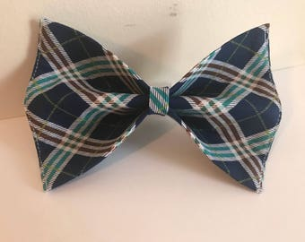 Blue and White Plaid Preppy Dog Bow Tie in Small, Medium or Large