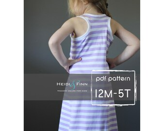 Sporty Maxi Dress pattern and tutorial PDF 12m-5t easy sew long tank dress tunic racerback