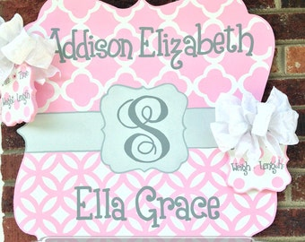 Birth Announcement - Door Hanger - Personalized Twin Baby Announcement Sign For Hospital Door for Girls Poodleskirt Pink, Light Gray