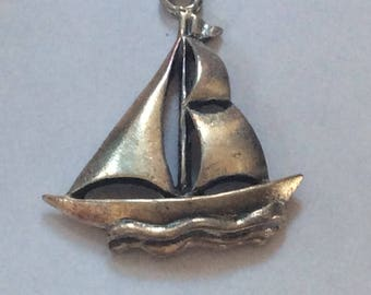 Sterling silver Sail Boat charm vintage # S 803
