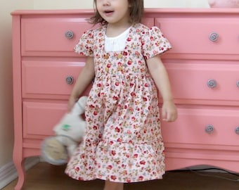 Girls Dress Pattern Empire Style with Short And Long Sleeve sizes 12m- 11/12 girls
