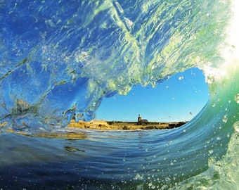 Photogragh Inside of a Tubing Wave with Mark Abbott Lighthouse in the Background.  Surfing Photo Print
