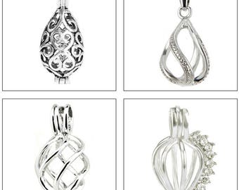 MERZIEs pearl cage U PICK quantity 1, 5, 10 Filigree Drop Fancy Twist CZs pendant Chart #17 - SHIPs from USA