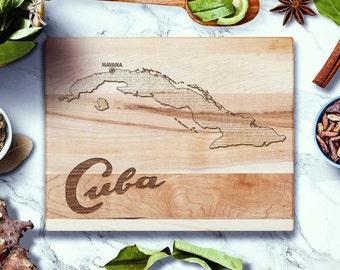 Cuba Map Havana Cutting Board - Cuban Gifts - Laser Engraved in Wood Cuba Art, Cooking Art, Made in USA