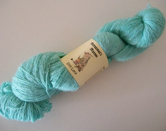 Silky Lace - 100gm hand dyed green laceweight silk/wool blend yarn. MInt Green