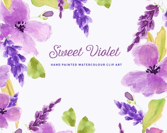 Watercolour Flower Hand Painted Clip Art - Sweet Violet