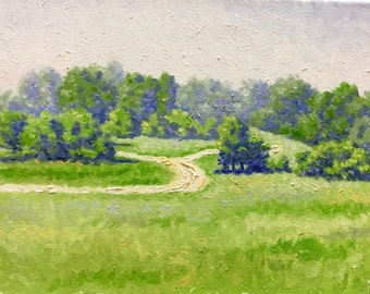 Original Impressionist style oil painting         'Dusty Road'