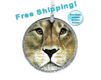 Lion Ornament, Lion Art, Lion Gift, Lion Face, Lion Decor, Wild Cats, Exotic Cats, Christmas Ornament, Tree Ornament, Free Shipping