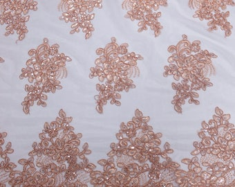 Mauve 51''  Adrianna Embroidered Flower with Sequins Scalloped Edge Lace Fabric by the Yard - Style 5003