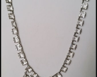 Antique 1920s Silver and crystal drop necklace