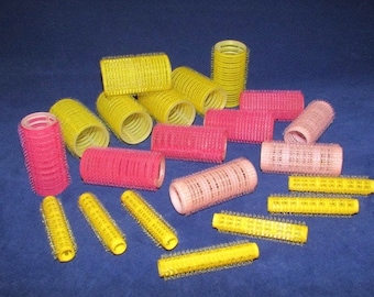 21 Vintage Self Holding Hair Rollers, No Pin / Clip Hair Bristle Curlers
