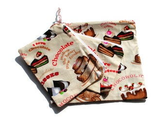 Reusable Sandwich Snack Bags Set of 3 Zipper Cream Chocolate Desserts