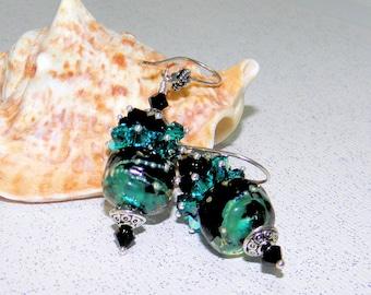 Perles de Murano boucles d'oreilles avec une grappe de Swarovski Crystal et argent sterling, cadeau de Noël
