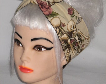Headband Roses Skull  Pin-up Vintage Retro Style 50s Psychobilly Rockabilly Head Wrap Scarf