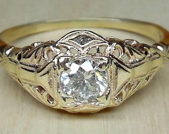 Vintage Antique .30ct Transitional Cut Diamond 9k Yellow Gold Engagement Ring 1920's Art Deco Filigree