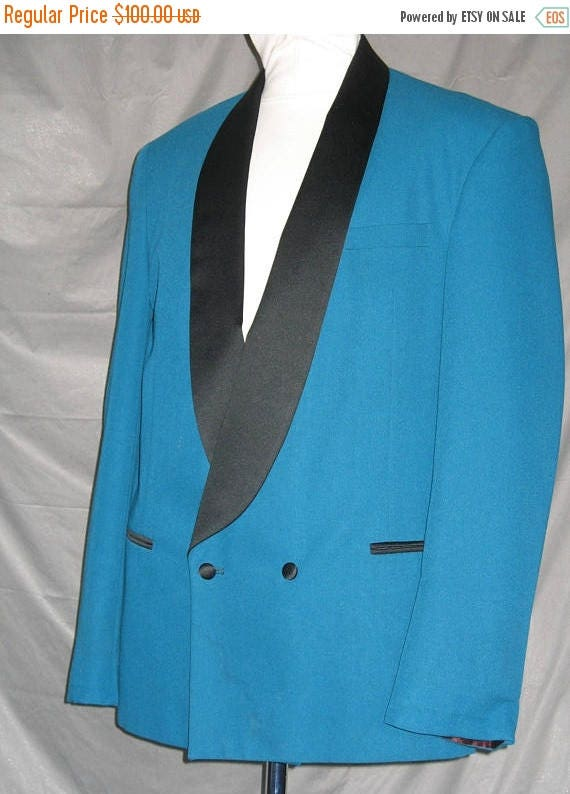On Sale Vintage 1980\'s Teal Double Breasted Tuxedo Jacket