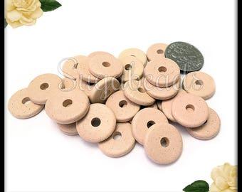 25 Stone Beige Greek Ceramic Round Washer Beads 13mm - Mykonos Ceramic Disc Beads GAM1