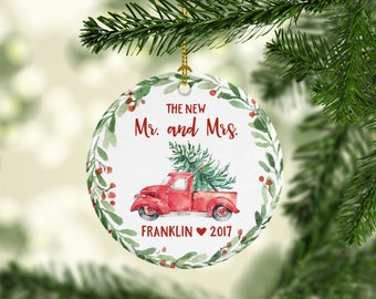 Wedding Gift Custom Mr. and Mrs. Ornament First Christmas Ornament Personalized Wedding Ornament First Christmas Ornament Married Cute Red