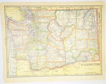 1933 AntiqueWashington State Map