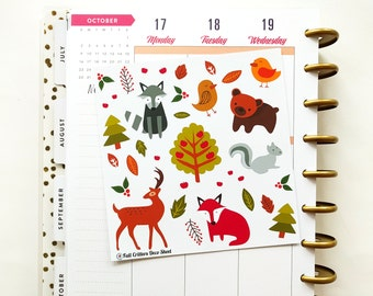 Autumn - Fall Critters Deco sheet for Erin Condren, Happy Planner, Scrapbooking, and more!