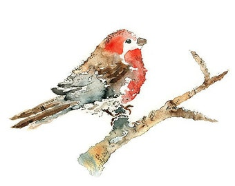 Red Bird Watercolor Print of original Finch Bird painting Boho Bird Decor Red Bird Picture