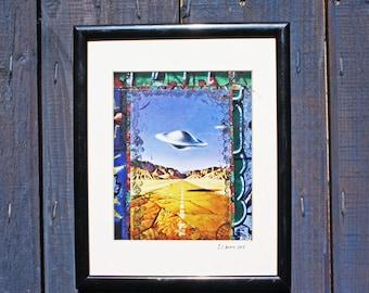 UFO ORIGINAL COLLAGE Art - Mixed Media - Framed Art