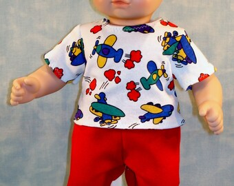 15 Inch Boy Doll Clothes - Airplanes T Shirt with Red Sweatpants Outfit handmade by Jane Ellen to fit 15 inch baby boy dolls