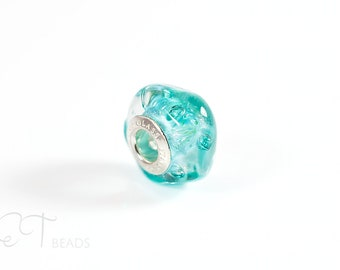 Ocean inspired Murano glass charm bead - Teal european bracelet bead - sterling silver large hole charm unique gift for women