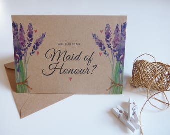 Rustic Will You Be My Maid of Honour Card, Maid of Honour Wedding Card, Maid of Honour, Lavender, Kraft